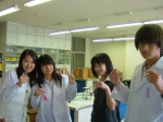The J-3 Students with their colourful Red Cabbage indicator & household acids/bases.