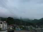 Nokogiri yama - covered in fog, view from the seaside town, following the road from Hama-kanaya station to the ropeway entrance.