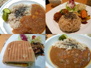 Dinner from Chaya, Yokohama. From top left, bean curry, millet burg, vegetable curry and roasted vegetable panini.