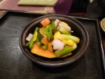 Steamed vegetables in a tagine, eaten by dipping into a little salt, at Non.