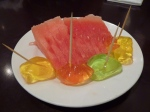 Vegie mum free dessert of watermelon and fruit jellies.