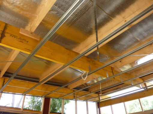 Aluminium supports for holding the ceiling plasterboard in place