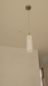 Pendant light over kitchen island