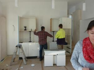 Kitchen cupboards going in ... an hour's work putting all those up